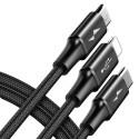 3 в 1 Кабел/зарядно Baseus с Type-C, Micro USB и Lightning портове, 1.2 м., 3.0А, Черен