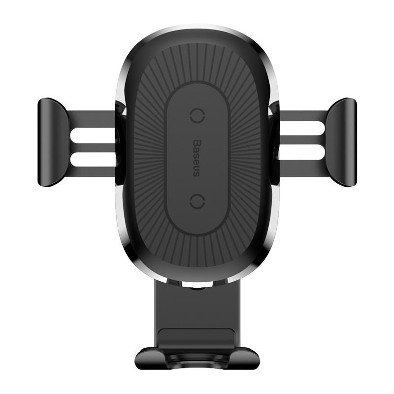 Безжично зарядно и стойка за телефон в кола Baseus с бързо зареждане, 10W, Qi, Универсално, Черно