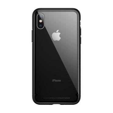 Стъклен кейс/калъф Baseus за iPhone X, Черен, Baseus