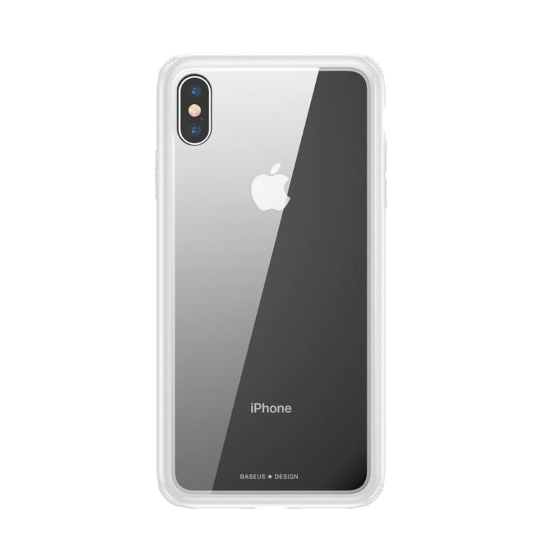Стъклен кейс/калъф Baseus за iPhone XR, Бял, Baseus
