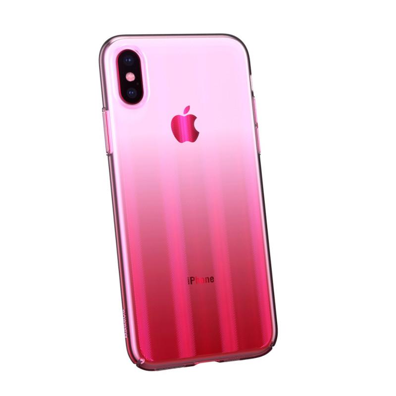 Луксозен калъф/кейс Baseus Aurora за iPhone X, Твърд, Полупрозрачно розово, Baseus