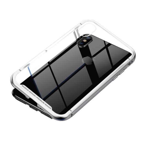 Магнитен кейс/калъф със стъклен гръб Baseus за iPhone XS Max, Сребрист, Baseus