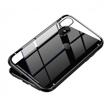 Магнитен кейс/калъф със стъклен гръб Baseus за iPhone XS Max, Черен, Baseus