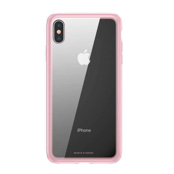 Стъклен кейс/калъф Baseus за iPhone X, Розов, Baseus