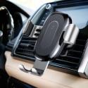 Безжично зарядно и стойка за телефон в кола Baseus с бързо зареждане, 10W, Qi, Универсално, Сиво