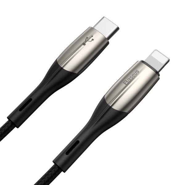 Зарядно/кабел Baseus за Apple iPhone от Type-C към Lightning, Метални накрайници, 18W, Черен