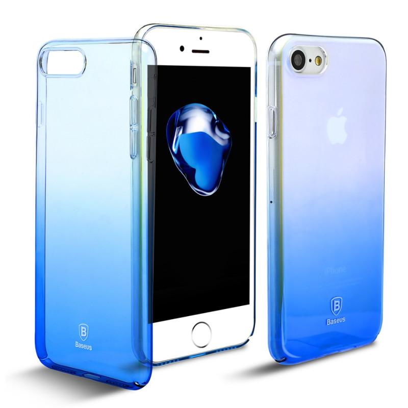 Луксозен калъф/кейс Baseus Glaze за iPhone 8, Твърд, Син, Baseus