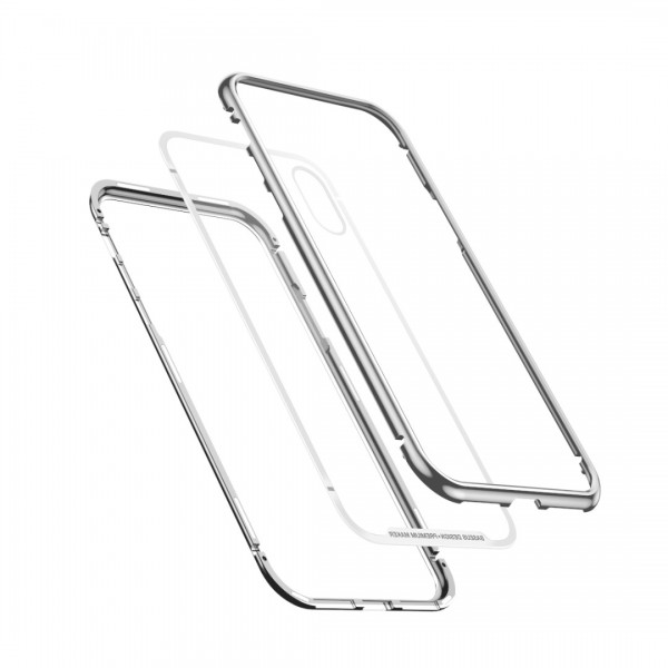 Магнитен кейс/калъф със стъклен гръб Baseus за iPhone X, Сребрист, Baseus