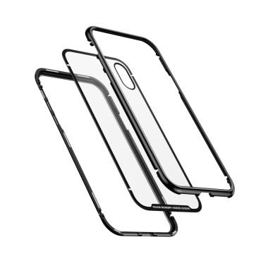 Магнитен кейс/калъф със стъклен гръб Baseus за iPhone X, Черен, Baseus