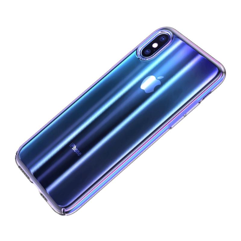 Луксозен калъф/кейс Baseus Aurora за iPhone XS, Твърд, Полупрозрачно синьо, Baseus