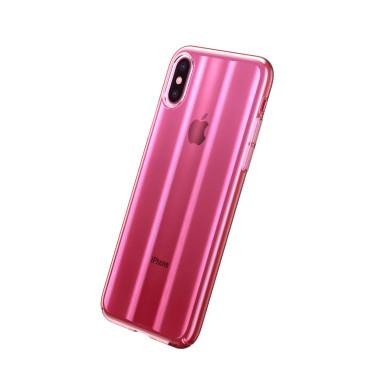 Луксозен калъф/кейс Baseus Aurora за iPhone XS, Твърд, Полупрозрачно розово, Baseus