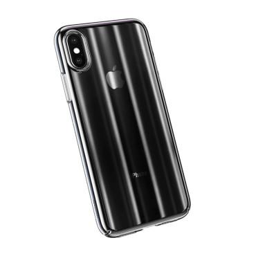Луксозен калъф/кейс Baseus Aurora за iPhone XS, Твърд, Полупрозрачно черно, Baseus