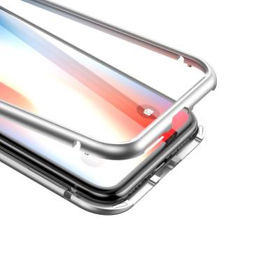 Магнитен кейс/калъф със стъклен гръб Baseus за iPhone XS, Сребрист, Baseus