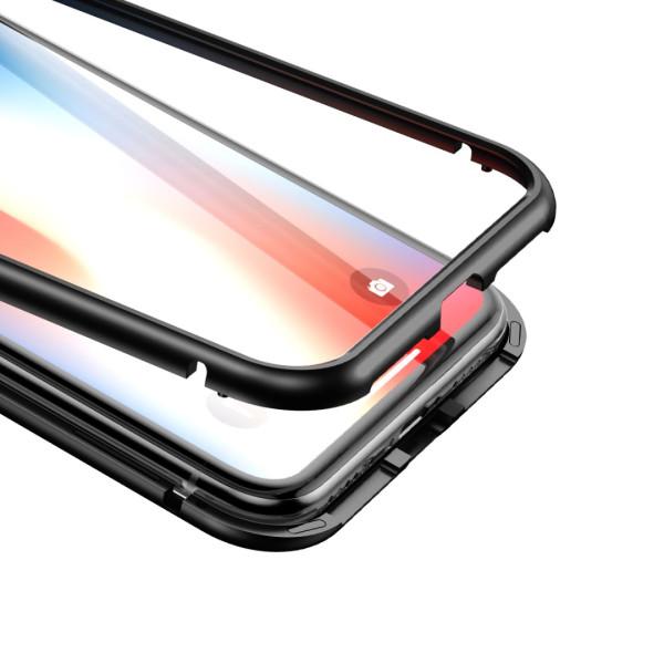 Магнитен кейс/калъф със стъклен гръб Baseus за iPhone XS, Черен, Baseus