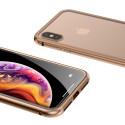 Магнитен кейс/калъф със стъклен гръб Baseus за iPhone X, Златист, Baseus