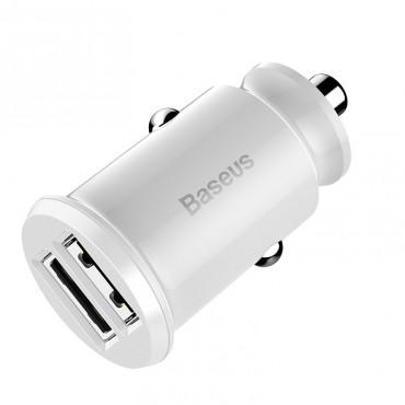Зарядно/адаптер за запалката Baseus 3.1А, 2 USB порта, Бързо зареждане, Бял