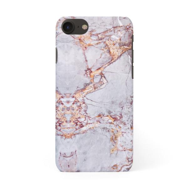Луксозен кейс/калъф в дизайн Silver Marble with Gold Threads за iPhone 8, Tвърд, Case