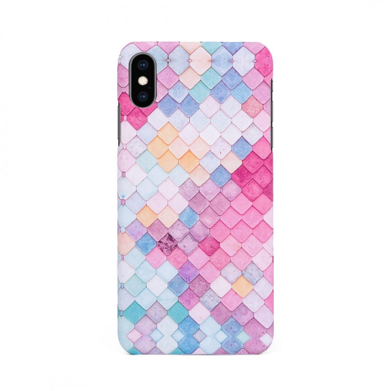 Твърд кейс/калъф в дизайн Colorful Scales за iPhone XS, Case, Уникален Дизайн