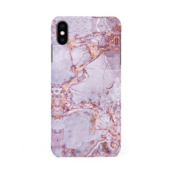 Луксозен кейс/калъф в дизайн Silver Marble with Gold Threads за iPhone XS, Tвърд, Case