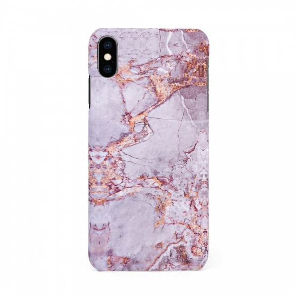 Луксозен кейс/калъф в дизайн Silver Marble with Gold Threads за iPhone XS Max, Tвърд, Case