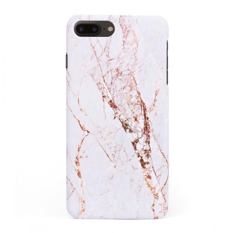 Луксозен кейс/калъф в дизайн White Marble with Gold Threads за iPhone 8 Plus, Tвърд, Case