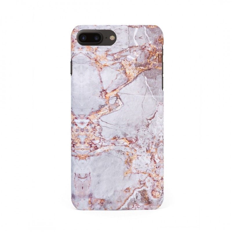 Луксозен кейс/калъф в дизайн Silver Marble with Gold Threads за iPhone 7 Plus, Tвърд, Case