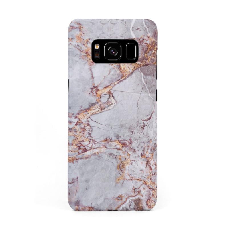 Луксозен кейс/калъф в дизайн Silver Marble with Gold Threads за Samsung Galaxy S8, Tвърд, Case