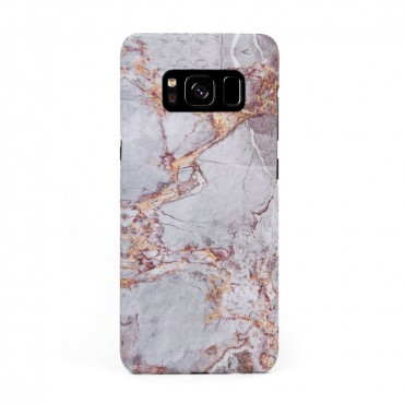 Луксозен кейс/калъф в дизайн Silver Marble with Gold Threads за Samsung Galaxy S8 Plus, Tвърд, Case