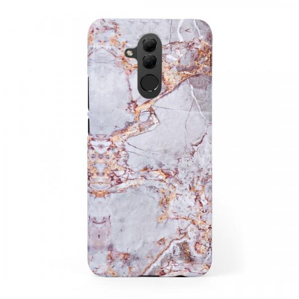 Луксозен кейс/калъф в дизайн Silver Marble with Gold Threads за Huawei Mate 20 Lite, Tвърд, Case
