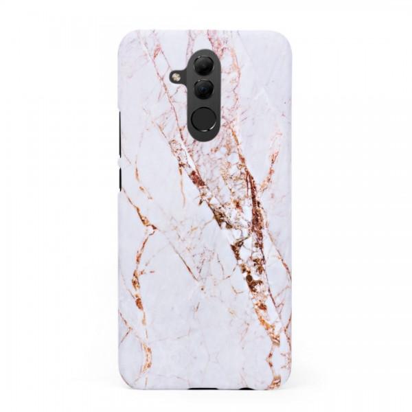 Луксозен кейс/калъф в дизайн White Marble with Gold Threads за Huawei Mate 20 Lite, Tвърд, Case
