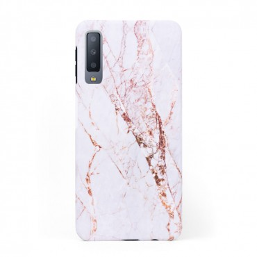 Луксозен кейс/калъф в дизайн White Marble with Gold Threads за Samsung Galaxy A7 (2018), Tвърд, Case