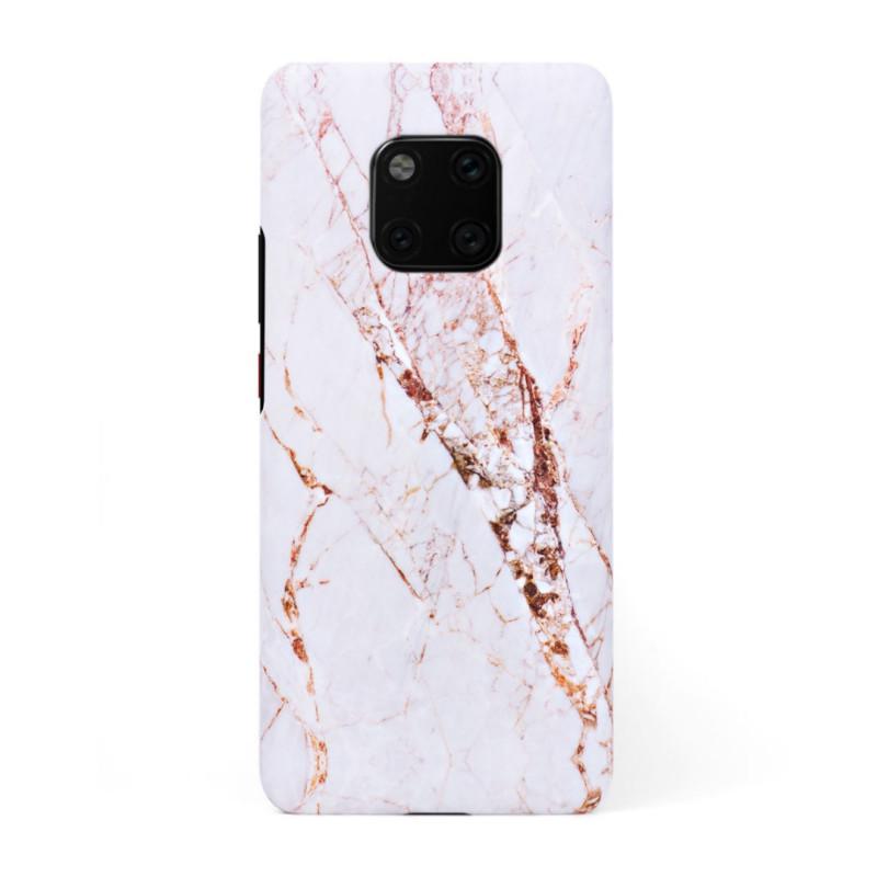 Луксозен кейс/калъф в дизайн White Marble with Gold Threads за Huawei Mate 20 Pro, Tвърд, Case