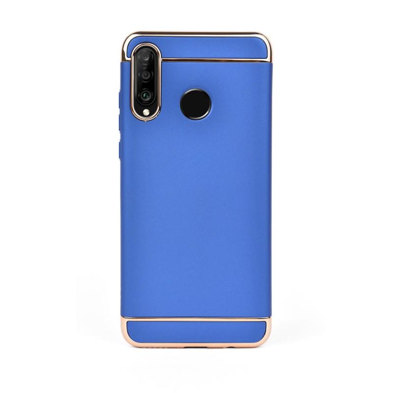Луксозен кейс/калъф от 3 части за Huawei P30 Lite, Case, Твърд, Син