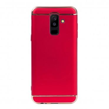 Луксозен кейс/калъф от 3 части за Samsung Galaxy A6 Plus (2018), Case, Твърд, Червен