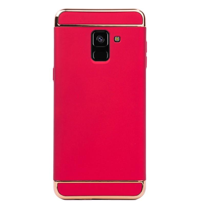 Луксозен кейс/калъф от 3 части за Samsung Galaxy A8 Plus (2018), Case, Твърд, Червен