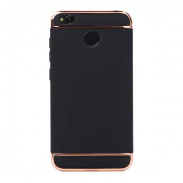 Луксозен кейс/калъф от 3 части за Xiaomi Redmi 4, Case, Твърд, Черен