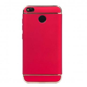 Луксозен кейс/калъф от 3 части за Xiaomi Redmi 4, Case, Твърд, Червен