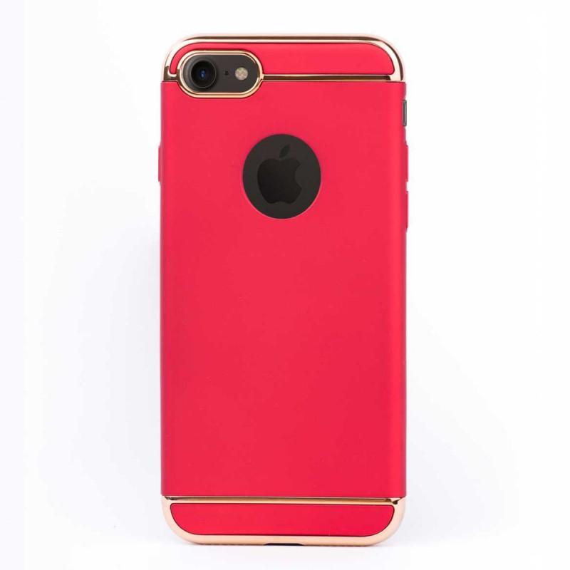 Луксозен кейс/калъф от 3 части за iPhone 8, Case, Твърд, Червен
