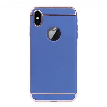 Луксозен кейс/калъф от 3 части за iPhone X, Case, Твърд, Син