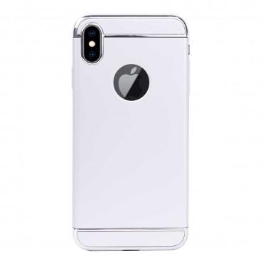 Луксозен кейс/калъф от 3 части за iPhone X, Case, Твърд, Сребрист