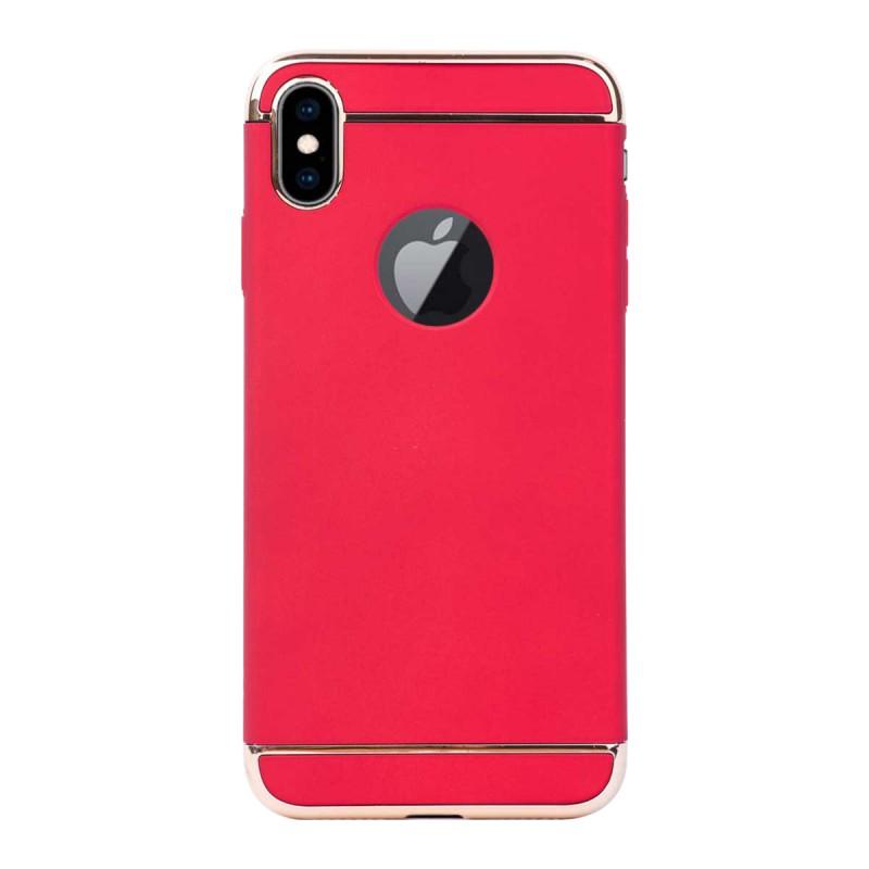 Луксозен кейс/калъф от 3 части за iPhone XS, Case, Твърд, Червен