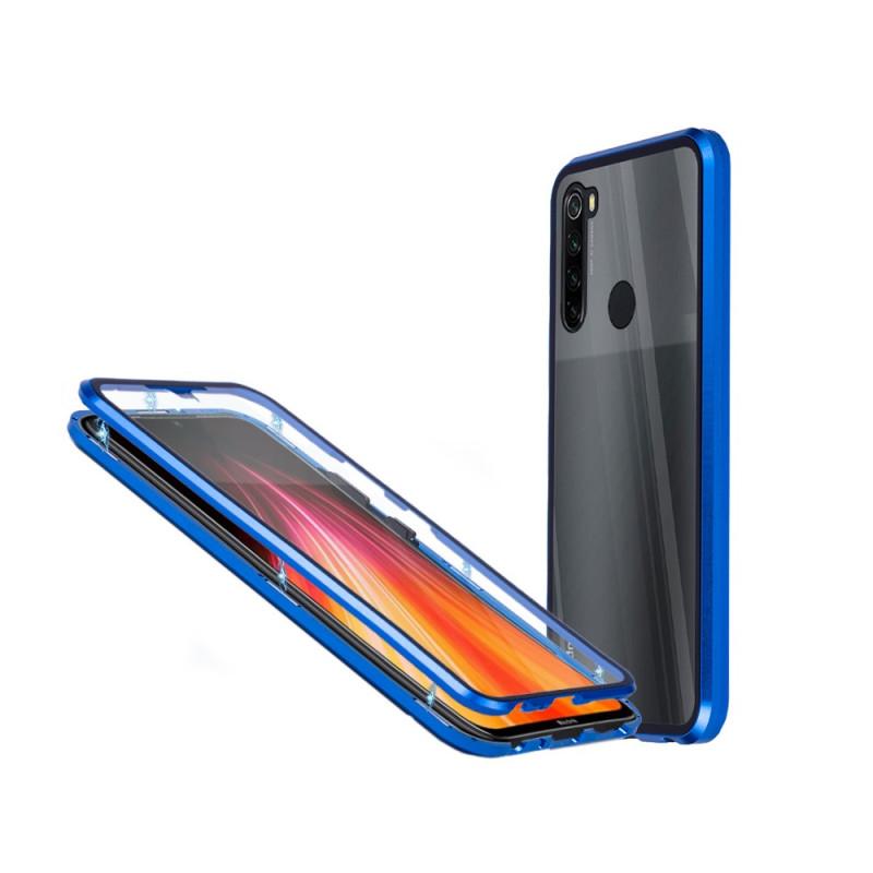Магнитен 360° калъф от 2 части за Xiaomi Redmi Note 8T със стъкло отпред и отзад, Син