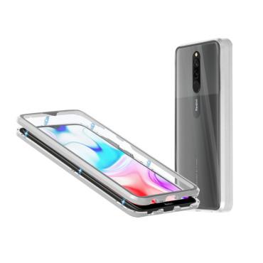 Магнитен 360° калъф от 2 части за Xiaomi Redmi 8 със стъкло отпред и отзад, Сив