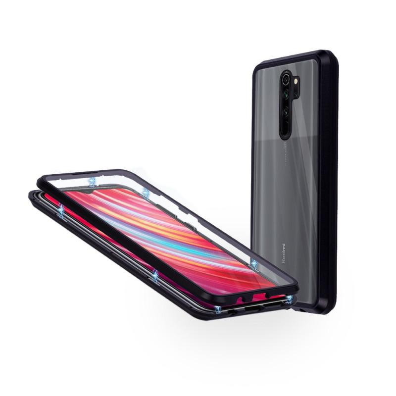 Магнитен 360° калъф от 2 части за Xiaomi Redmi Note 8 Pro със стъкло отпред и отзад, Черен
