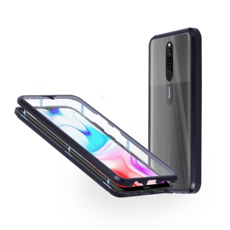 Магнитен 360° калъф от 2 части за Xiaomi Redmi 8 със стъкло отпред и отзад, Черен