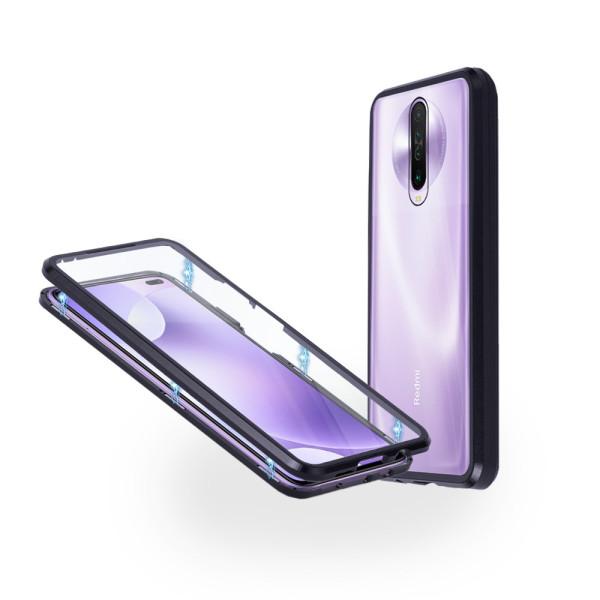 Магнитен 360° калъф от 2 части за Xiaomi Redmi K30 със стъкло отпред и отзад, Черен