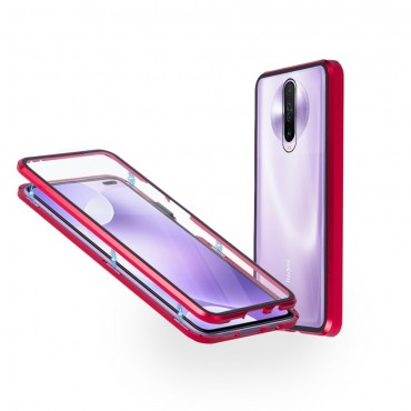 Магнитен 360° калъф от 2 части за Xiaomi Redmi K30 със стъкло отпред и отзад, Червен
