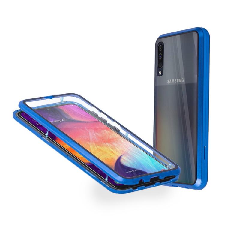 Магнитен 360° калъф от 2 части за Samsung Galaxy A50 със стъкло отпред и отзад, Син