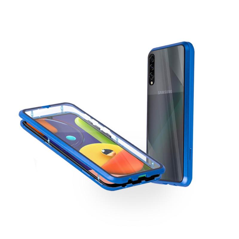 Магнитен 360° калъф от 2 части за Samsung Galaxy A50s със стъкло отпред и отзад, Син