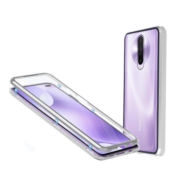 Магнитен 360° калъф от 2 части за Xiaomi Redmi K30 със стъкло отпред и отзад, Сив